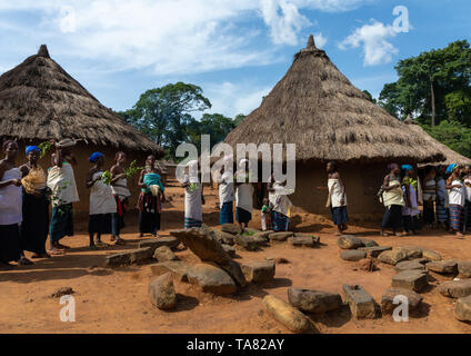 Dan tribe women in line singing and dancing during a ceremony, Bafing, Gboni, Ivory Coast - Stock Image