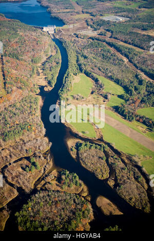 Comerford Dam on the Connecticut River in Monroe, New Hampshire and Barnet, Vermont.  Aerial. - Stock Image