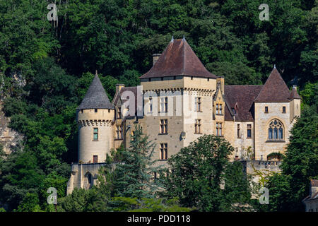Chateau de la Malartrie in the village of La Roque-Gageac, . This pictursque village is in the Dordogne department of the Nouvelle-Aquitaine region of - Stock Image