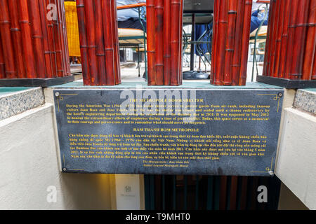 Metropole Bomb Shelter plaque at the entrance to the air raid bunker from the Vietnam War in the Sofitel Legend Metropole Hanoi hotel, Hanoi - Stock Image