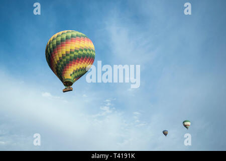 Hot air balloons in flight, Luxor, Egypt - Stock Image
