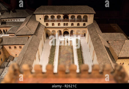 Cordoba, Spain - 2018, Sept 8th: Alhambra building scale model. Calahorra Tower Museum, Cordoba, Spain. Palaces of the  Ambassadors Courtyard - Stock Image