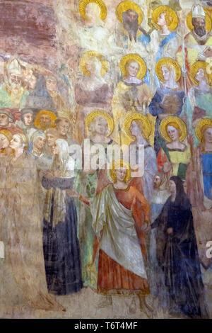 Paradise, Fresco, detail, Orcagna , 1354-57, Cappella Strozzi, Strozzi Chapel, Basilica di Santa Maria Novella, Church of Santa Maria Novella, Florenc - Stock Image