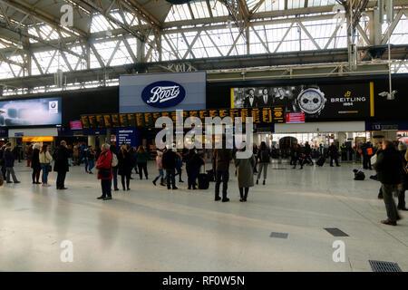 Inside Waterloo railway station, London, United Kingdom. - Stock Image