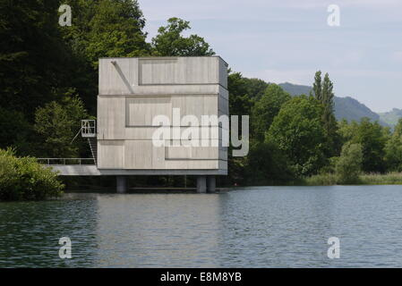Finish House of World Rowing Cup Lucerne Lake Rotsee built by AFGH Architects - Zielhaus Ruderregatta im Rotsee - Stock Image