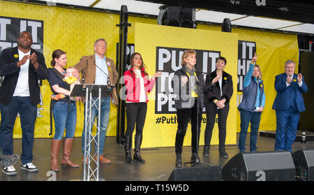 London, UK. 23rd Mar, 2019. Anna Soubry MP Independent Group, flanked by David Lammy, Jutsine Greening, Ian Blackford, Caroline Lucas,  spaking at the People's Vote March and rally, 'Put it to the People.' Credit: Prixpics/Alamy Live News - Stock Image