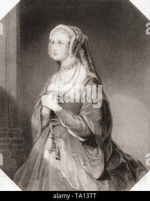 Anne Bullen. Principal female character from Shakespeare's play Henry VIII.  From Shakespeare Gallery, published c.1840. - Stock Image