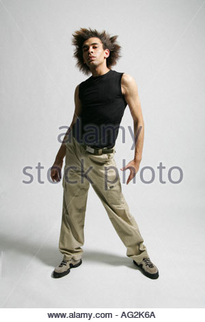 male dancer ballet pose modern dance - Stock Image