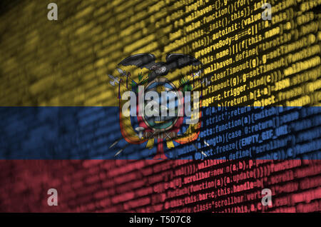 Ecuador flag  is depicted on the screen with the program code. The concept of modern technology and site development. - Stock Image