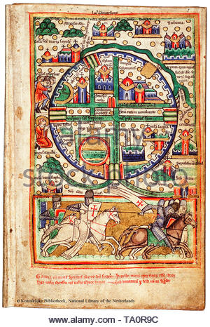 Map of Jerusalem, Knights Templar, Crusades, 12th-13th Century - Stock Image