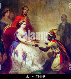 Queen Victoria Giving the Bible to an African Chief (The Secret of England's Greatness), painting, Thomas Jones Barker, c. 1861 - Stock Image
