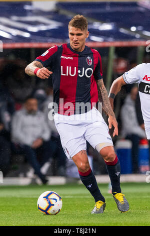 Bologna, Italy. 13th May, 2019. Lyanco Evangelista Silveira Neves Vojnovic (Bologna) during the Italian 'Serie A' match between Bologna 4-1 Parma at Renato Dall Ara Stadium on May 13, 2019 in Bologna, Italy. Credit: Aflo Co. Ltd./Alamy Live News - Stock Image