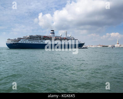 Marco Polo Cruise Ship in the Bacino San Marco, Venice, Italy - Stock Image