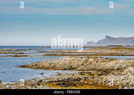 The rocky coast of Andøya, an island belonging to the Vesterålen archipelago in northern Norway. - Stock Image