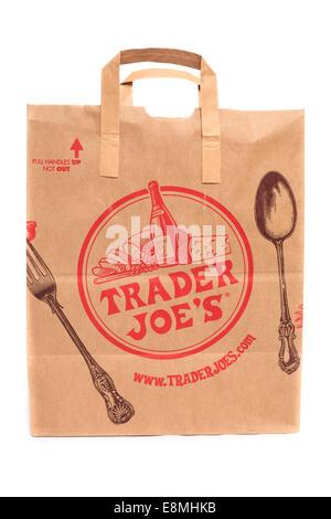 A Trader Joe's market paper grocery bag - Stock Image