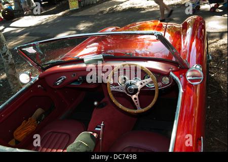interior of classic Austin-Healey 3000 sportscar - Stock Image