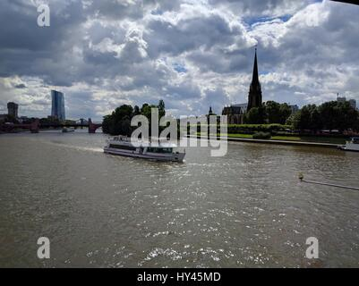 Boats Sailing In River - Stock Image