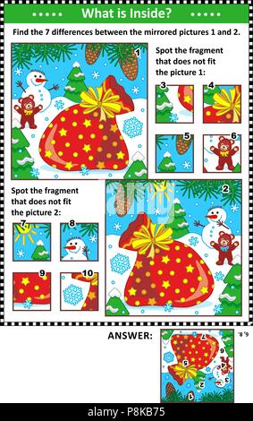 New Year or Christmas visual puzzles with  Santa's sack. Find the differences between the mirrored pictures. Spot the wrong fragments. Answers included. - Stock Image