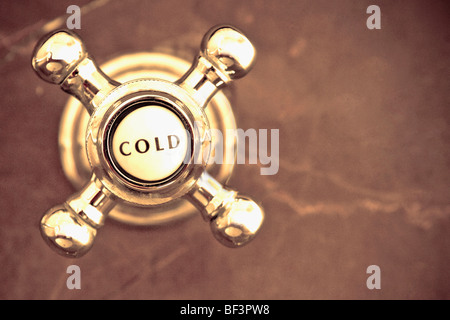 Close-up of a cold water shower knob - Stock Image