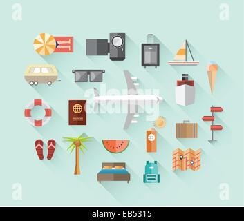 Travel and tourism icons on blue - Stock Image