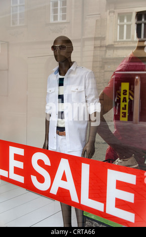 Shop window display with a dummy - Stock Image