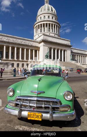 Oltimer, Capitol, Havanna, Habana, Cuba - Stock Image