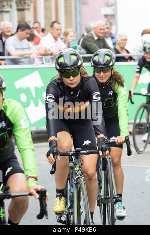 Sheyla Gutierrez Spanish national champion at the start of the 2018 Ovo Women's Tour - Stock Image