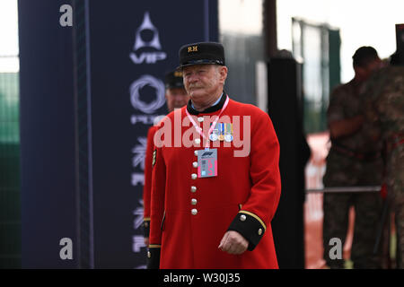 Silverstone, Northampton, UK. 11th July 2019. F1 Grand Prix of Great Britain, Driver arrivals day; Chelsea Pensioner arrives to the paddock Credit: Action Plus Sports Images/Alamy Live News - Stock Image