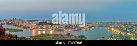 Istanbul city view from Pierre Loti Teleferik station overlooking Golden Horn at sunset, Eyup District, Istanbul, Turkey - Stock Image