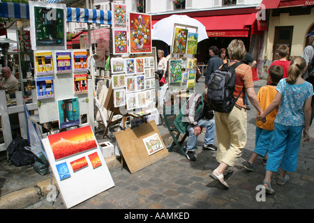 Paintings for sale in the artist s quarter Montmartre Paris France Europe - Stock Image
