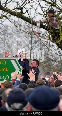 Ashbourne, UK. 28th Feb, 2017. Ashbourne Royal Shrovetide Football 28th February 2017 Derbyshire upards against - Stock Image