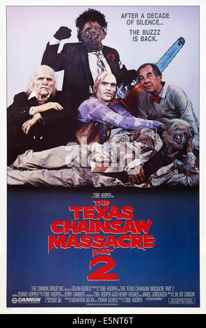 THE TEXAS CHAINSAW MASSACRE 2, US poster, Bill Johnson (rear), center from left: Ken Evert, Jim Siedow, Bill Moseley, - Stock Image