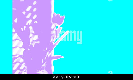 Contemporary floral abstract ripped torn tulips in purple aqua turquoise bold bright spring design for web banner, Easter, Mothers Day - Stock Image