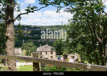 View towards Sowerby Bridge from Norland, West Yorkshire - Stock Image