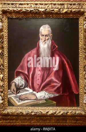 Saint Jerome as Scholar, El Greco (Domenikos Theotokopoulos, The Metropolitan Museum of Art, Manhattan, New York USA - Stock Image