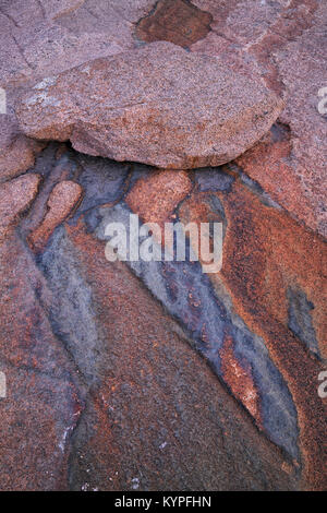 Geological patterns at Otter Cliffs in Acadia National Park in Maine - Stock Image