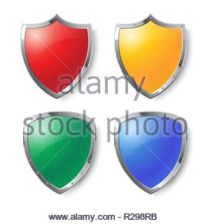 Collection of red, yellow, green and blue shields with silver frames with and without metal texture. Security symbol. Removable texture. - Stock Image