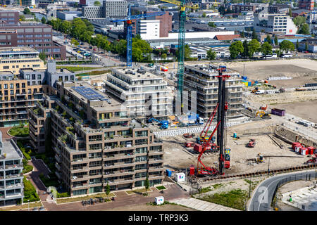 Amsterdam, Netherlands, residential area Overhoeks, newly built apartments on the river Ij, former industrial site, in the Amsterdam-Noord area, - Stock Image