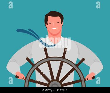 Smiling businessman at the helm of the ship. Business success, cartoon vector illustration - Stock Image