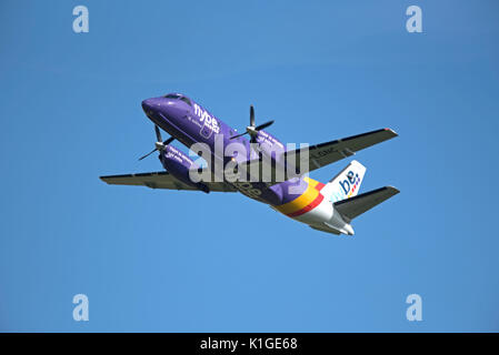Saab 340B IN FlyBe livery departing Inverness in the Scottish Highlands for Stornaway in the outer Hebrides. - Stock Image