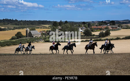 Riders during Coldstream Civic Week ride over the Battlefield of Flodden during the annual Rideout to the battle site of the 1513 battle - Stock Image