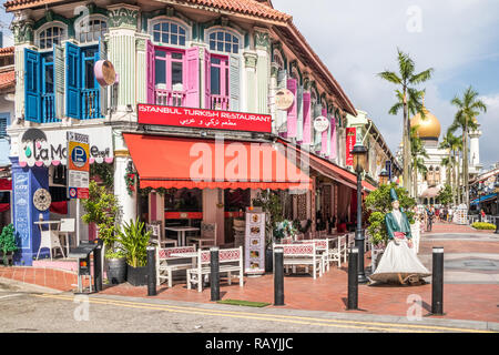 Singapore - 22nd December 2018: Turkish restaurant in the Arab Quarter. This is in the Kampong Glam area - Stock Image