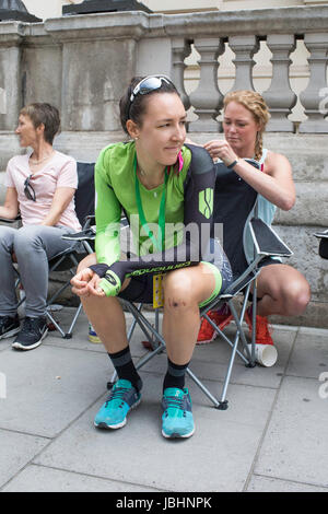London, UK.  11th June 2017. Final stage of the 2017 Women's Tour of Britain. Dani King gets ready for the race. - Stock Image