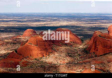 Close-up, Aerial view of a section of Kata Tjuṯa, in the Uluru-Kata Tjuṯa National Park, Northern Territory, Australia - Stock Image