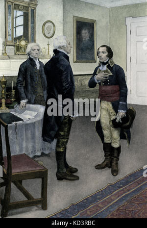 Edmond-Charles Genet presented to George Washington. Citizen Genet affair, 1793. Edmond-Charles Genêt, appointed - Stock Image