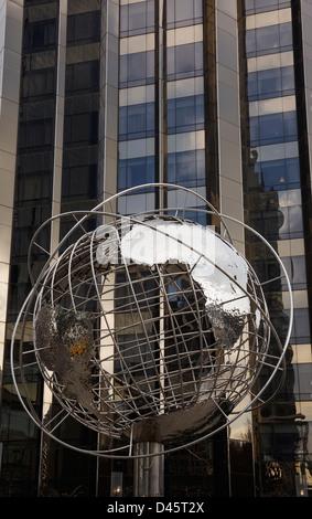 Globe sculpture and Trump Tower, Columbus Circle, Manhattan, New York City, New York, USA - Stock Image