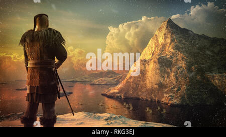 Viking warrior on the high cliff watches the ships on the sea. 3D render illustration with snow, mountain and sea. - Stock Image