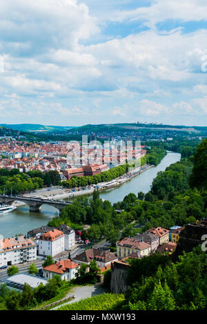 View on Würzburg and Main from Festung Marienberg, Würzburg, Germany - Stock Image