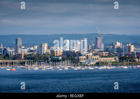 View over Cardiff Bay Cardiff Wales - Stock Image
