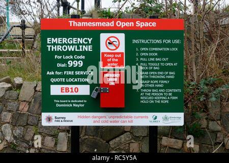 Emergency throwline, Thamesmead, Surrey, United Kingdom - Stock Image